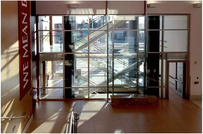 SuperLite II-XL 120 in GPX Framing add daylight and transparency to this 2-hour stairwell. & Reinventing Stairways Using Fire Rated Glass - SaftiFirst