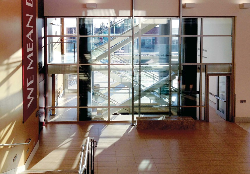 2 hour fire resistive stairwell with SuperLite II-XL 120 in GPX Architectural Series Framing