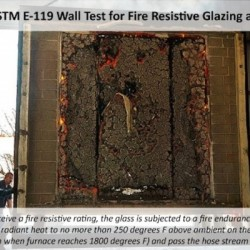 ASTM E-119 wall test on fire resistive glazing up to 2 hours