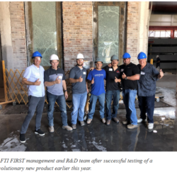 Successful R&D team from SAFTI FIRST after glass impact testing